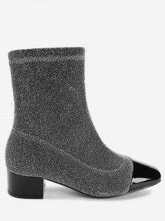 Squared Toe Stacked Heel Sock Boots - Silver 36