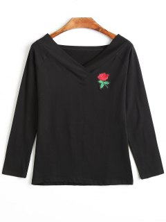Rose Embroidery Applique Long Sleeve T-shirt - Black M