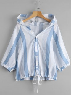 Striped Hooded Top - Blue And White