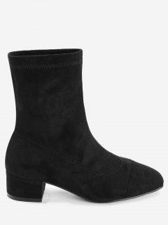 Faux Suede Color Block Sock Boots - Black 39
