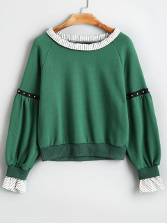 Rivet Embellished Raglan Sleeve Striped Sweatshirt - Green S