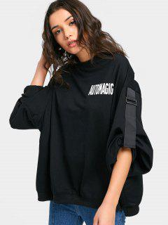 Letter Graphic Cut Out Oversized Sweatshirt - Black