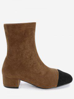 Faux Suede Color Block Sock Boots - Brown 36