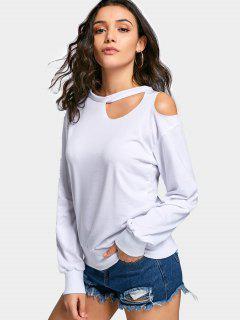 Crew Neck Drop Shoulder Cut Out Sweatshirt - White L