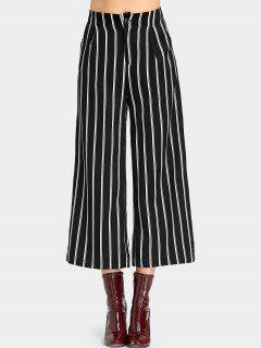 High Waist Striped Wide Leg Cropped Pants - Stripe
