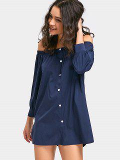 Off The Shoulder Button Up Mini Dress - Deep Blue S