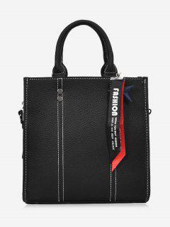 Star Stitching Pendant Handbag - Black
