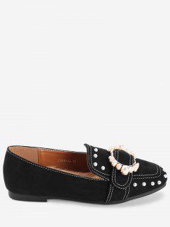 Slip Con Cordones Con Punta Cuadrada En Los Zapatos - Negro 39