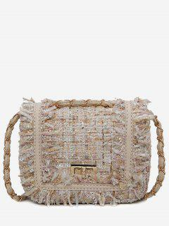 Color Block Plaid Frayed Edge Crossbody Bag - Off-white