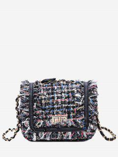 Color Block Plaid Frayed Edge Crossbody Bag - Blue