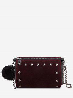 Studs Pompom Chain Crossbody Bag - Purplish Red