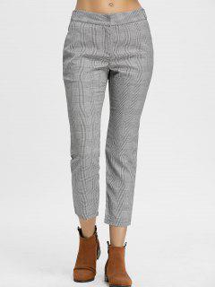 Zig Zag Plaid Pants - Gray M