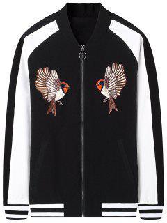 Zipper Bird Bestickte Bomberjacke - Schwarz 2xl