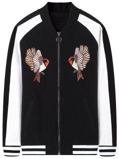 Zipper Bird Embroidered Bomber Jacket - Black Xl