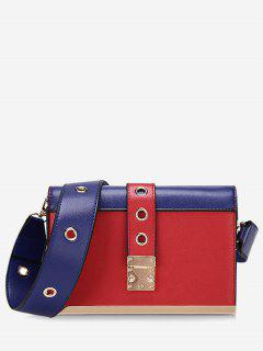 Eyelets Color Block Crossbody Bag - Red