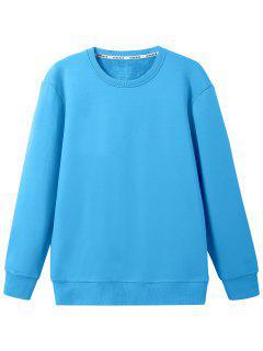 Crew Neck Wool Blend Sweatshirt - Lake Blue L