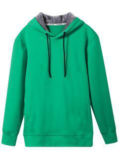 Pullover Soft Woolen Lining Hoodie - Green 2xl