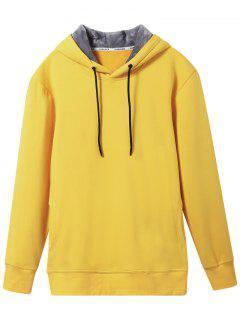 Pullover Soft Woolen Lining Hoodie - Yellow Xl
