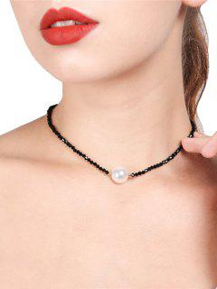 Faux Pearl Collarbone Beaded Necklace - Black