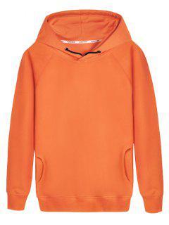 Pullover Raglan Sleeve Hoodie - Orange L