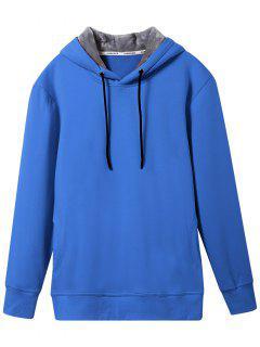 Pullover Soft Woolen Lining Hoodie - Blue Xl