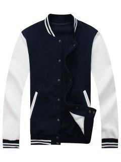 Color Block Baseball Jacket - Cadetblue L