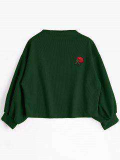 Lantern Sleeve Rose Embroidered Patches Sweatshirt - Deep Green