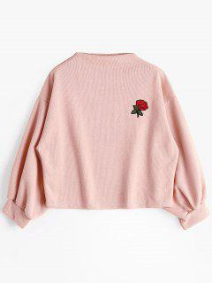 Sweat-shirt à Rose Brodée Et Manches Lanternes - Rose