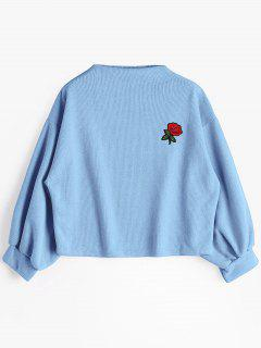 Lantern Sleeve Rose Embroidered Patches Sweatshirt - Light Blue