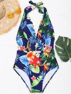 Halter Floral High Cut Monokini - Floral 2xl