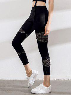 Mesh Laser Cut Capri Yoga Pants - Black S