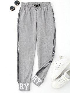 Graphic Drawstring Sporty Jogger Pants - Gray L