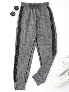 Drawstring Mesh Sporty Jogger Pants - Gray Xl