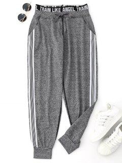 Drawstring Graphic Yoga Jogger Pants - Gray L
