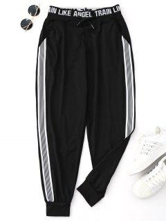 Drawstring Graphic Yoga Jogger Pants - Black L