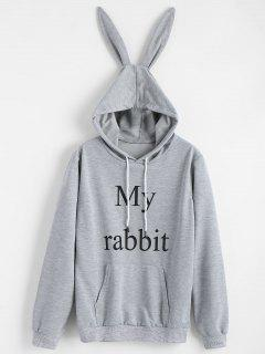 Cute Graphic Rabbit Hoodie - Gray S