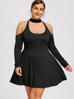 Plus Size Lace Up Cold Shoulder Dress - Black 3xl