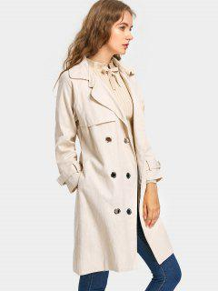 Snap Button Back Slit Belted Coat - Light Apricot S