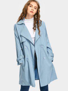 Manteau Ceinturé à Col Tailleur Et Double Boutonnage - Bleu Léger  S