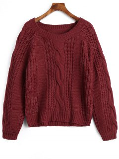 Plain Cable Knit Chunky Sweater - Deep Red