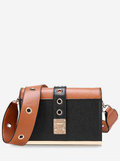 Eyelets Color Block Crossbody Bag - Black