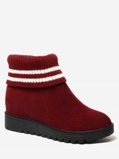 Contrasting Color Striped Short Boots - Red 39