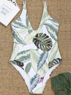 Cami Leaf Print High Cut Swimwear - White M