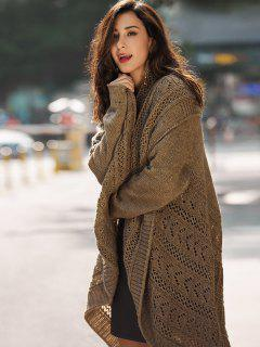 Crochet Knit Drop Shoulder Long Cardigan - Brown