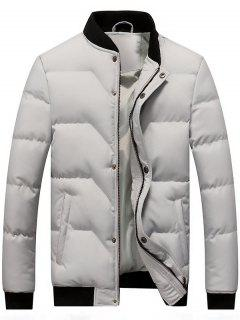 Zip And Button Padded Bomber Jacket - Light Gray L
