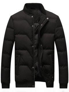 Zip And Button Padded Bomber Jacket - Black 4xl