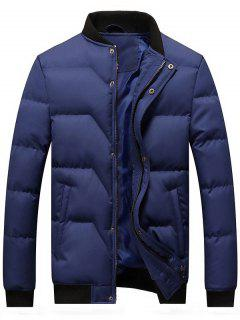 Zip And Button Padded Bomber Jacket - Blue L