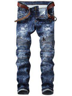 Snow Wash Straight Leg Biker Jeans - Blue 38
