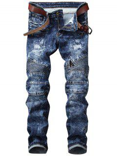 Snow Wash Straight Leg Biker Jeans - Blue 32
