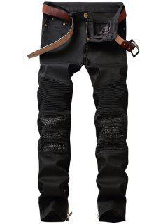 Zipper Hem PU Insert Biker Jeans - Black 36